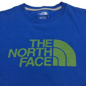 The North Face T Shirt L Blue Green Big Logo Mens